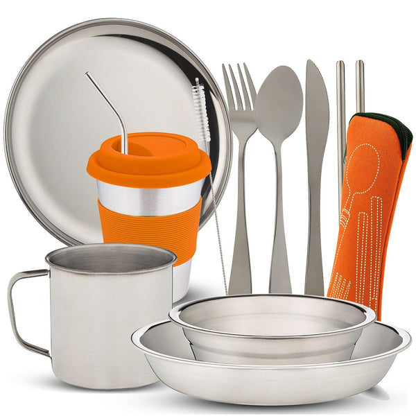 10-Piece Camping Tableware Dish Set - wealers