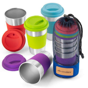 Stainless Steel Cup Tumbler Set with Blue Mesh Carry Bag - wealers