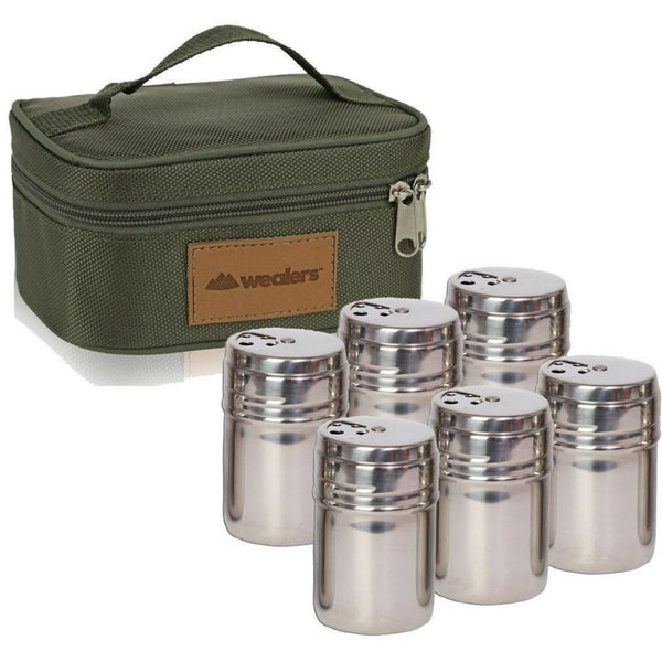 6 PC STAINLESS STEEL SPICE SHAKERS KIT - wealers