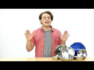 Video - stainless steel plates and bowls dinnerware set