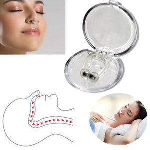 women sleeping with anti snoring device