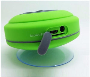 Green bluetooth shower speaker with suction cup