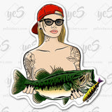 Double Ds Fishing Stickers by Artist Tapped Ink