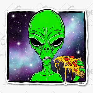 Alien - Just Here for the Pizza Sticker Featuring Artwork by Artist Tapped Ink
