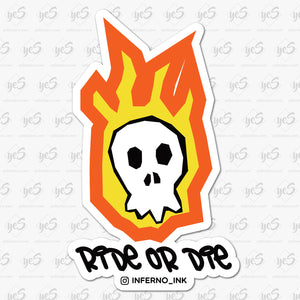 Ride or Die Flaming Skull