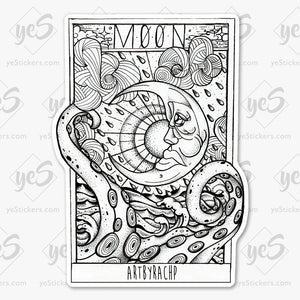 Tarot Series : Moon - white
