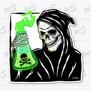 Toxic Grim Reaper Sticker Featuring Artwork by Tapped Ink Artist