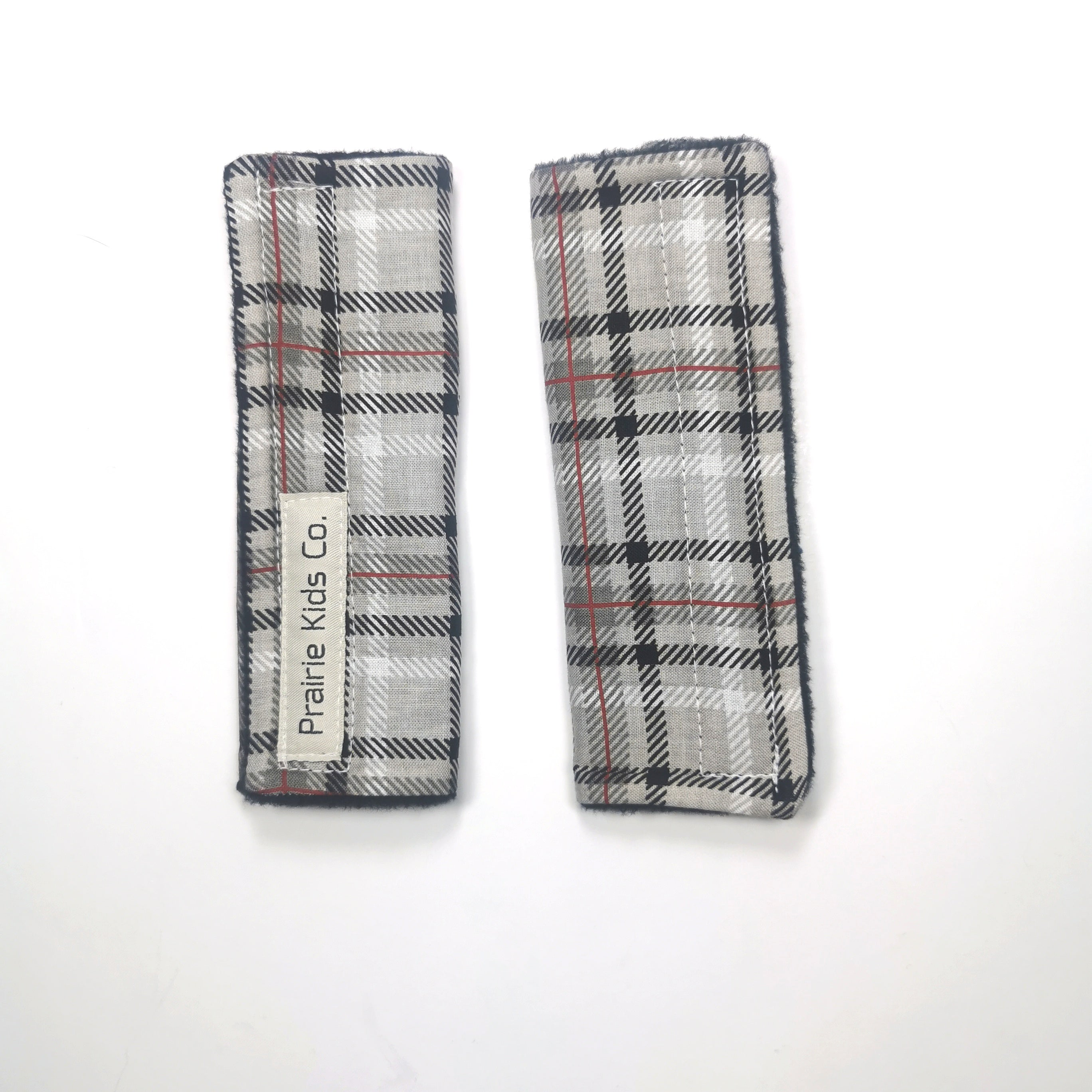 Car Seat Strap Saver - Grey Plaid