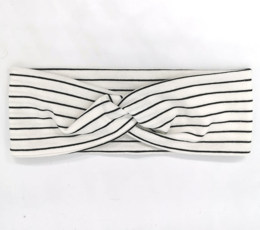 Button Headband - Black/White Stripe