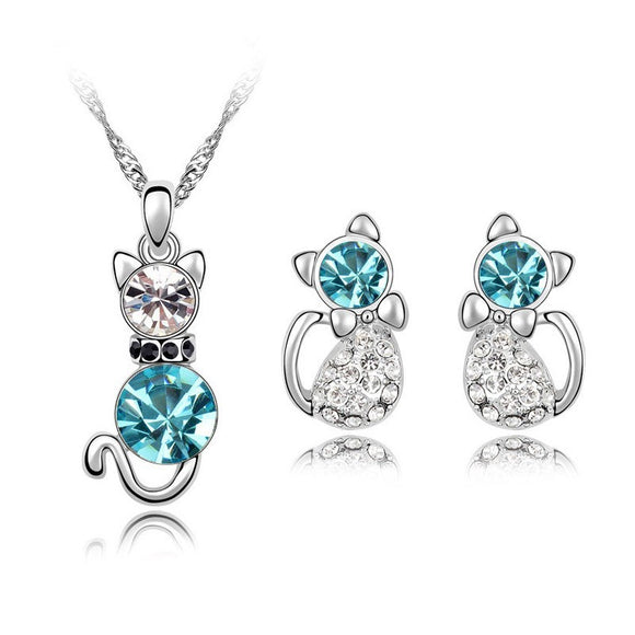 Cat Fashion Necklace & Earring Set