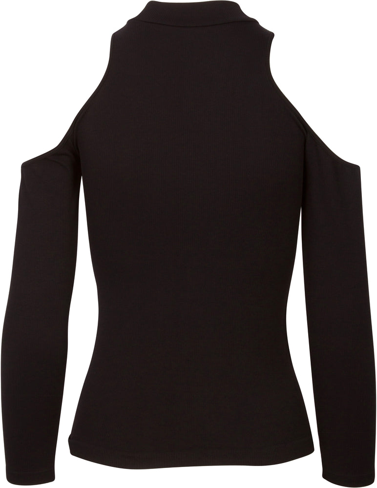 Ribbed Cold Shoulder Long Sleeve