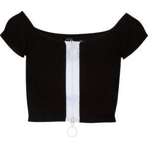 Zippered Front Black Top