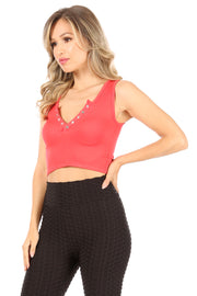 Ribbed Seamless Crop Top with Snaps - Suzette Collection