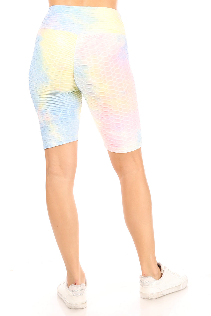 Tie Dye Pineapple Grid Cinched Back Bike Short - Suzette Collection