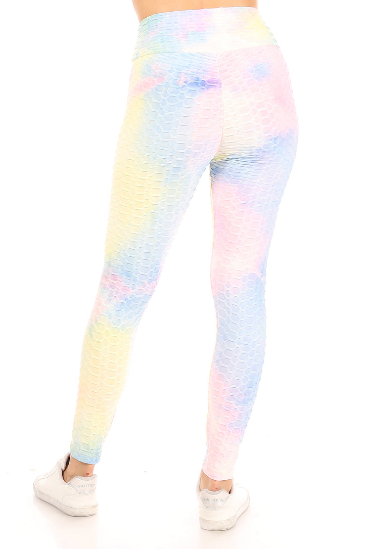Tie Dye Pineapple Grid Cinched Back Leggings - Suzette Collection