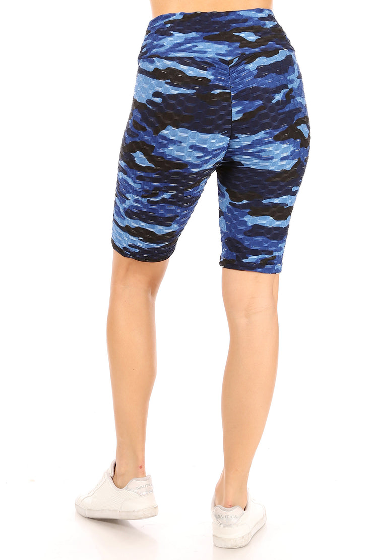 Blue Camo Pineapple Grid Cinched Back Bike Short - Suzette Collection