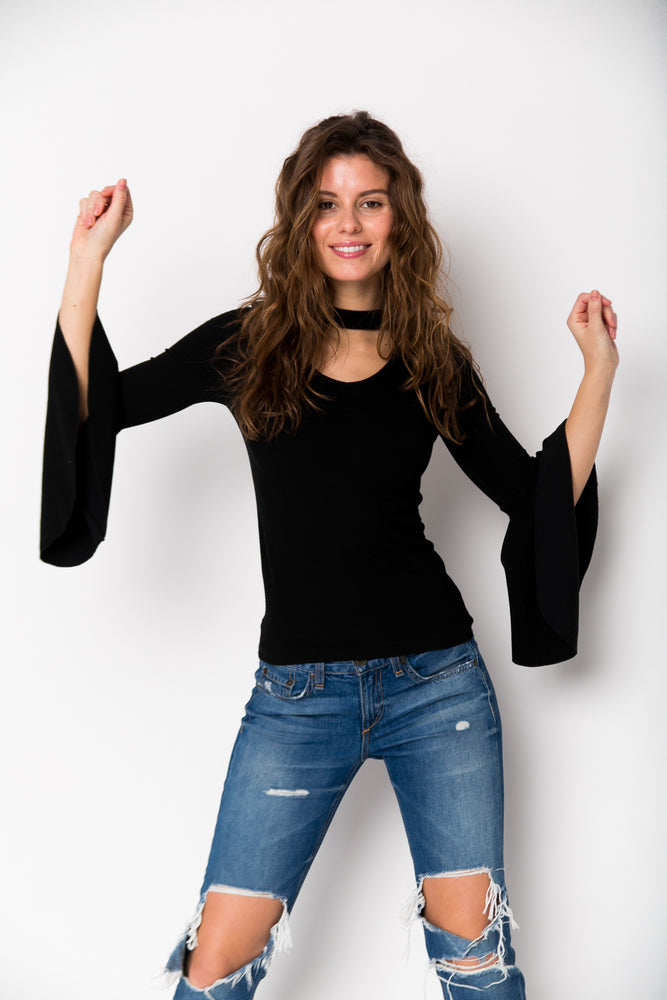 Choker Neck Long Bell Sleeve