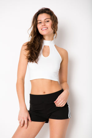 Mock Sleeveless Crop Teardrop Opening