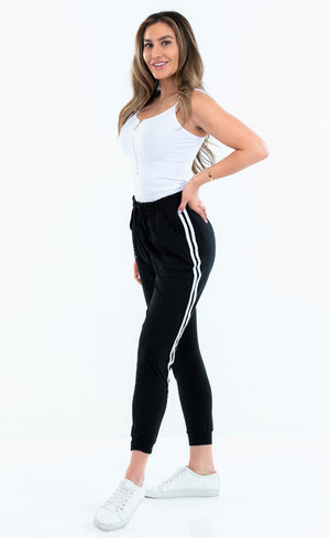 Solid Jogger With Double Stripe