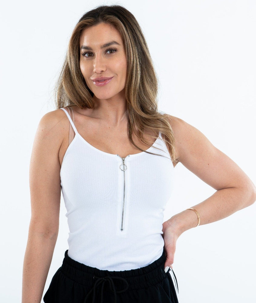 Rib Zip Front w/Adjustable strap Cami