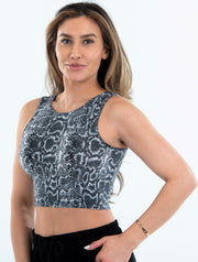Sleeveless Python Print Tank Crop - Suzette Collection
