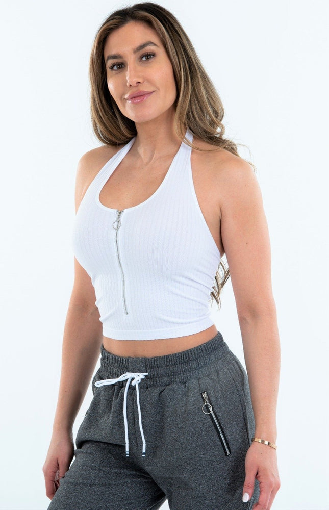 Halter Top with Zipper Front
