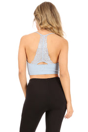 Textured Halter Bralette Top with Lace back - Suzette Collection