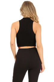 Sleeveless Mock Neck Ribbed Crop Top - Suzette Collection