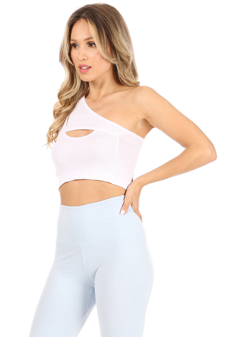 Wide Rib One Shoulder Cut Out Crop Top - Suzette Collection