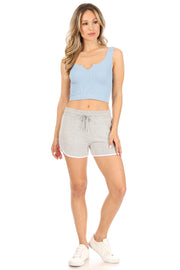 Notch V Neck Ribbed Crop Top - Suzette Collection