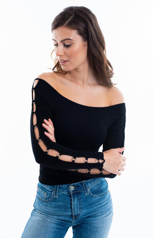 Long Sleeve Off the Shoulder w/ O Ring Side Top