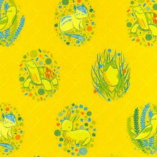 Alyssa Thomas : Picnic Pals : Y1001-9 on Yellow: Clothworks : Organic