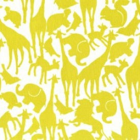 Baby! by Cynthia Rowley : Animal Silhouettes in Citron : Michael Miller
