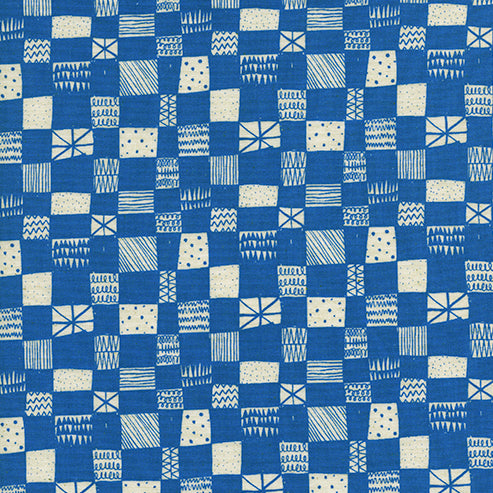 Printshop by Alexia Abegg : Grid in Blue : Cotton and Steel