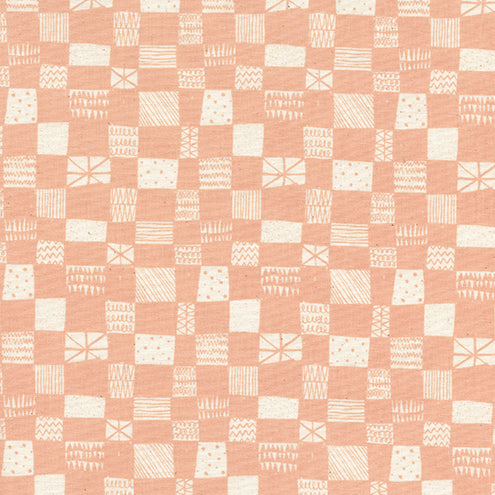 Printshop by Alexia Abegg : Grid in Peach : Cotton and Steel