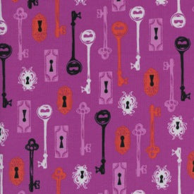 Boo! : Skeleton Keys in Grape : Cotton + Steel