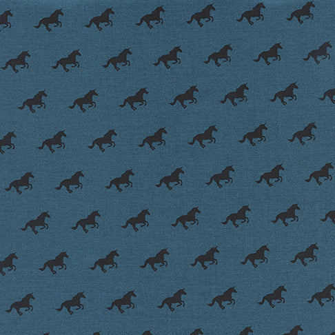 Lawn Quilt by Cotton and Steel : Unicorn Race in Denim : Cotton and Steel