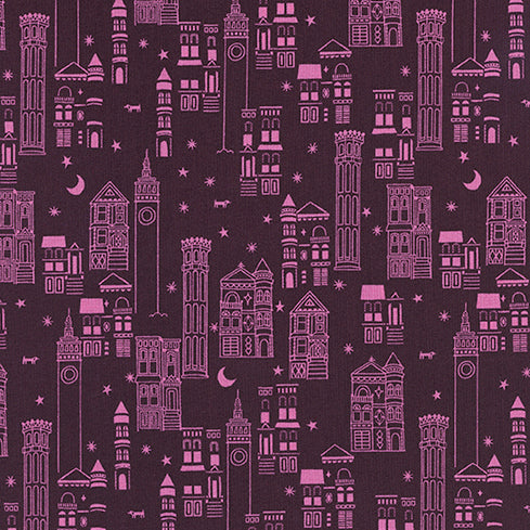 Lawn Quilt by Cotton and Steel : Metropolis in Wine : Cotton and Steel