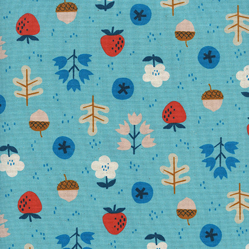 Welsummer by Kim Kight : Forage in Bright Blue : Cotton and Steel