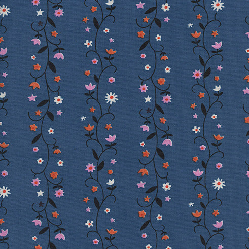 Welsummer by Kim Kight : Daisy Vines in Denim : Cotton and Steel