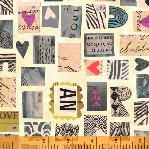 Wish by Carrie Bloomston : Postage Stamps in Old Paper : Windham