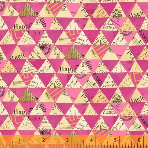 Wish by Carrie Bloomston : Collaged Triangle in Hot Pink : Windham