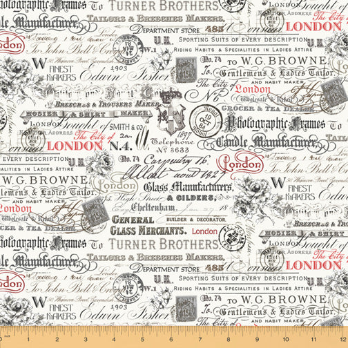 London by Whistler Studios : Text & Stamps in White : Windham