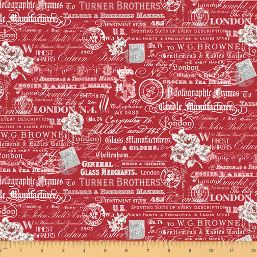 London by Whistler Studios : Text & Stamps in Red : Windham