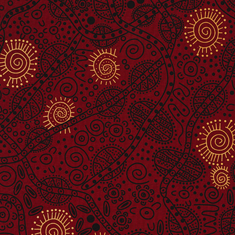 Bush Tucker in Red by June Smith : M & S Textiles