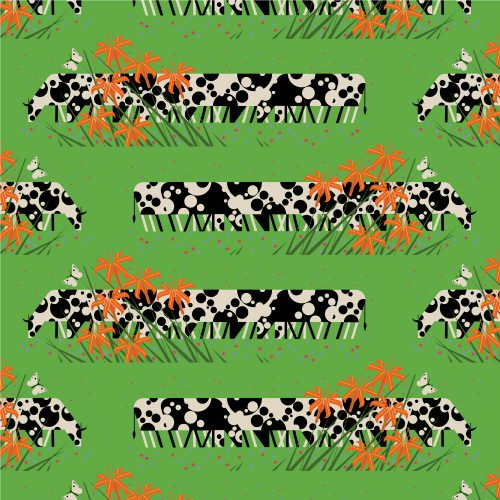 Summer by Charley Harper : Cow Line : Birch