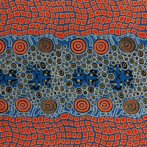 Fire Dreaming in Blue by Janat Nakamarra : M & S Textiles