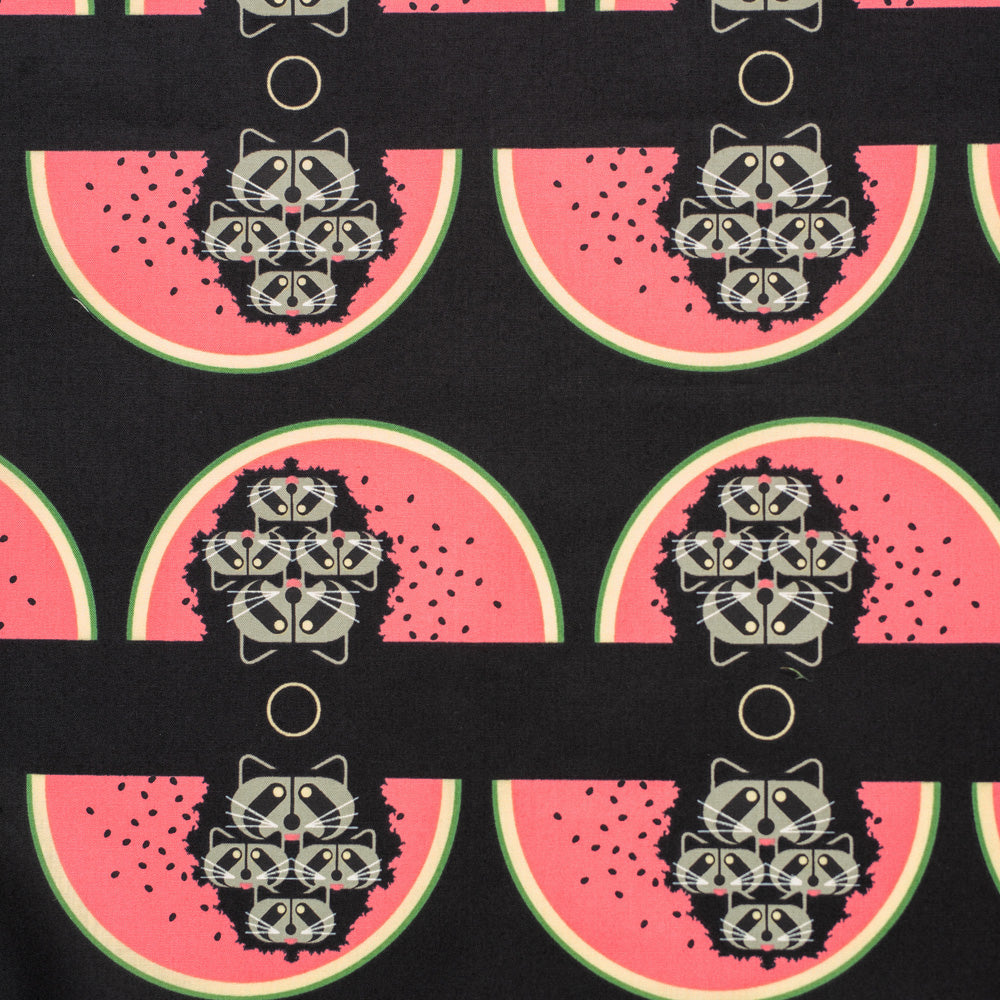 Cats and Raccs by Charley Harper : Watermelon Moon : Birch