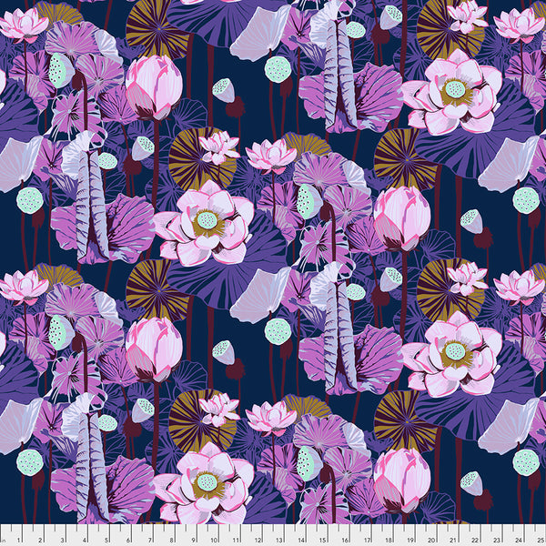 One Mile Radiant by Anna Maria Horner Conservatory Chapter 3 : Lotus in Prussian : Free Spirit Fabrics