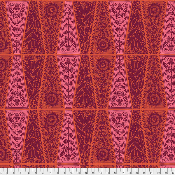 Triple Take by Anna Maria Horner Conservatory Chapter 4 : New Dresden Lace in Pumpkin : Free Spirit Fabrics